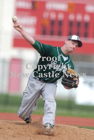 Erica Galvin/NEWS<br /> Laurel's Brandon Ritchie pitches to a Neshannock batter in the first inning.