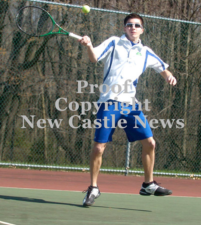 Erica Galvin/NEWS<br /> Ellwood City's Matt Barnes returns a serve against Central Valley during a section doubles match up yesterday at Pearson Park.