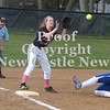 Erica Galvin/NEWS<br /> Ellwood City's  Mallory Swogger slides safely into third while New Castle's Shannon Dudich waits for the throw in the sixth inning.