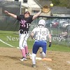 Erica Galvin/NEWS<br /> New Castle first baseman Jenna Frank reaches for a wild throw as Francesca Nardone runs safely to first.
