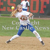 Erica Galvin/NEWS<br /> Ellwood City's Susie Blyth throws to first for an out.