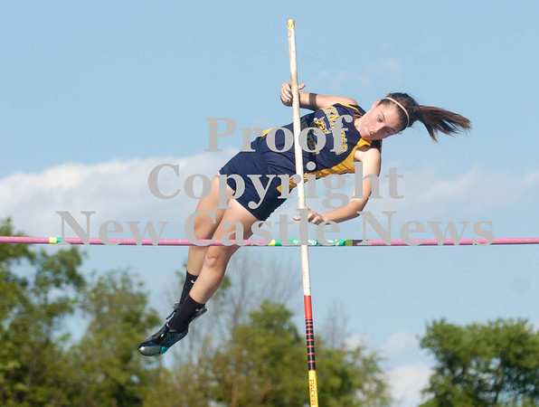 "Erica Galvin/NEWS<br /> Shenango's Corie Palmer clears 8""3' during the pole vault event."