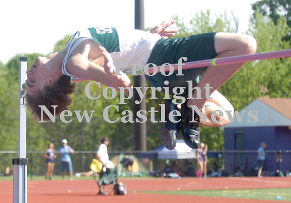 Erica Galvin/NEWS<br /> Laurel's Joey Johnson attempts to clear the high jump pole.