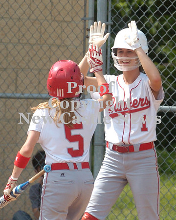 Erica Galvin/NEWS<br /> Rayanna Furst high fives Jamie Graziani after scoring two runs in the fifth inning.