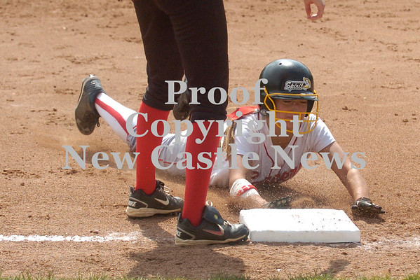 Erica Galvin/NEWS<br /> Marissa DeMatteo slides safely into third after hitting a triple in the fifth inning.