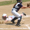 Erica Galvin/NEWS<br /> Madison Shaffer slides safely into home as Carmichaels' catcher Lindsey Osborne makes the catch.