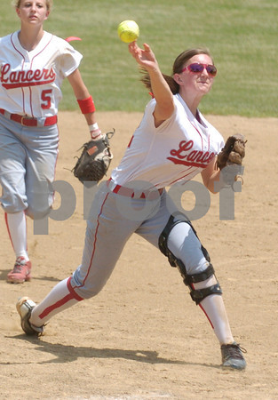 Erica Galvin/NEWS<br /> Madison Altmyer throws to first in the fifth inning.