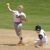 Erica Galvin/NEWS<br /> Jamie Graziani attempts to turn a second out as Carmichaels' baserunner Mia Virgili slides.