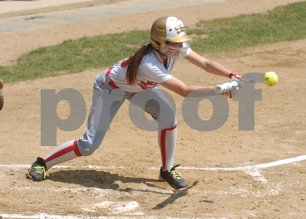 Erica Galvin/NEWS<br /> Rachel Iorio lays down a sacrifice bunt in the second inning to score a run.