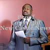 """Courtney Caughey-Stambul/NEWS<br /> Keynote Speaker, Apostle David Young Sr., sings """"Lift Every Voice and Sing"""" with the congregation on Sunday."""