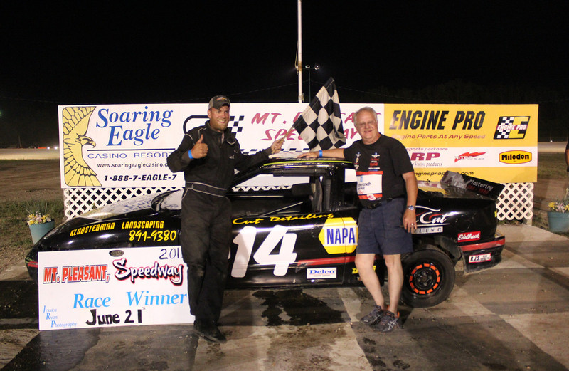 Mt. Pleasant/Clare Automotive Stock 4 Feature Winner #14 Richard Peck.