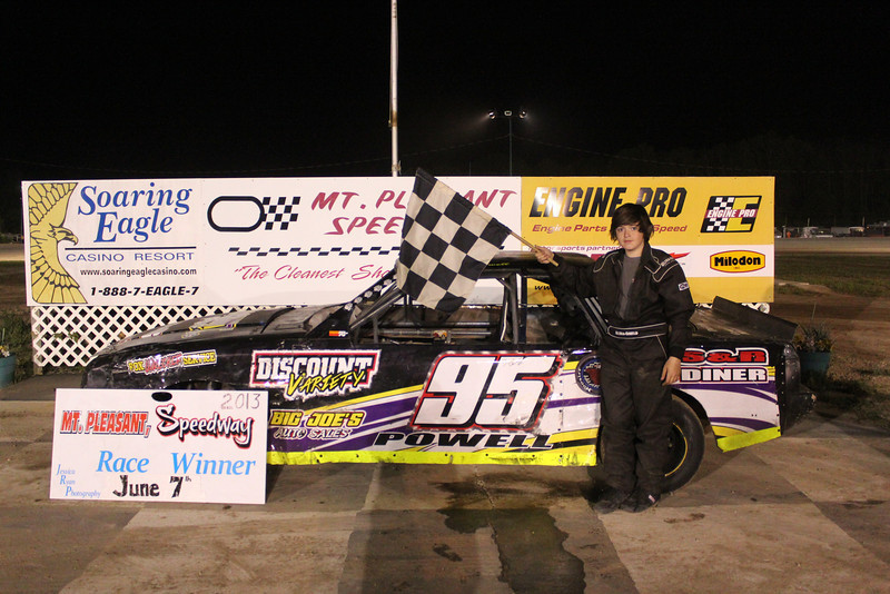 Mt. Pleasant/Clare Automotive Stock 4 Feature Winner #95 Brendan Powell.