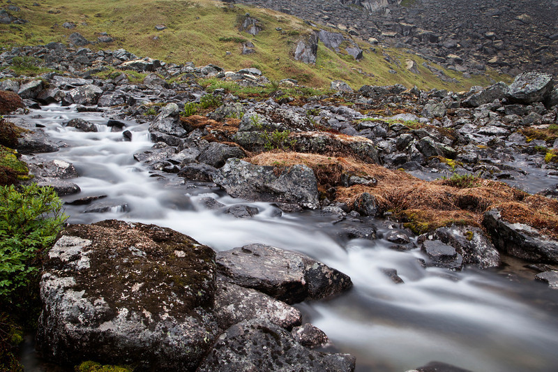 Streams in this area have had plenty of water this fall, cascading beautifully through the greenery of Hatcher Pass.