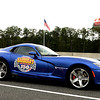 A brand new Dodge Viper from major race sponsor Barbera's Autoland served as the honorary pace car for the ARCA race.<br /> <br /> ©Sam Feinstein