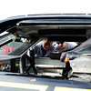"Some fans get a close look at the inside of an ARCA car - ""#51.""<br /> <br /> ©Sam Feinstein"
