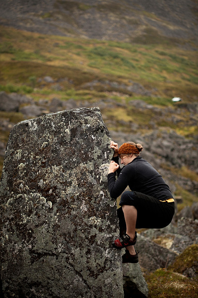 A sharp arete gives Tracy positive holds even in the damp weather of Hatcher Pass.
