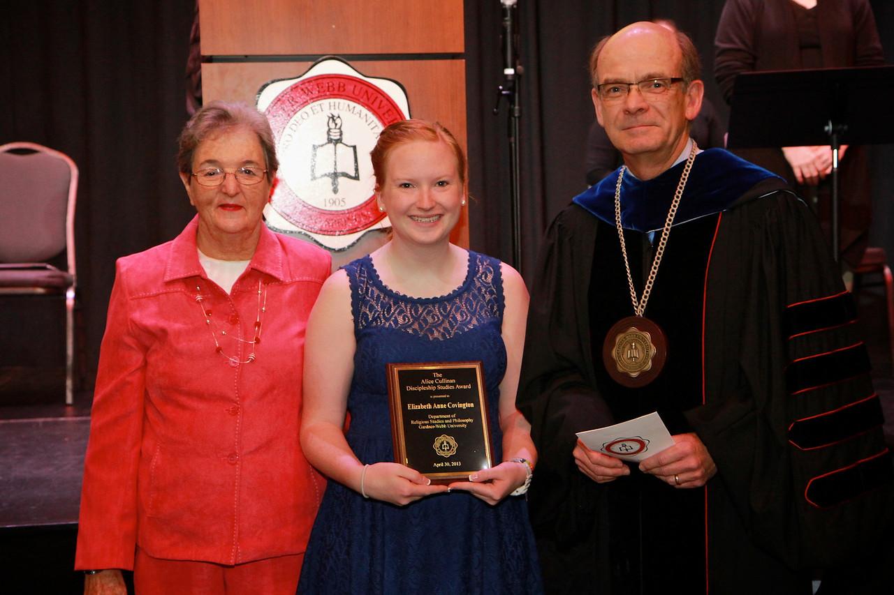 58th Academic Awards Day; April 30, 2013. Alice Cullinan Discipleship Studies Award.