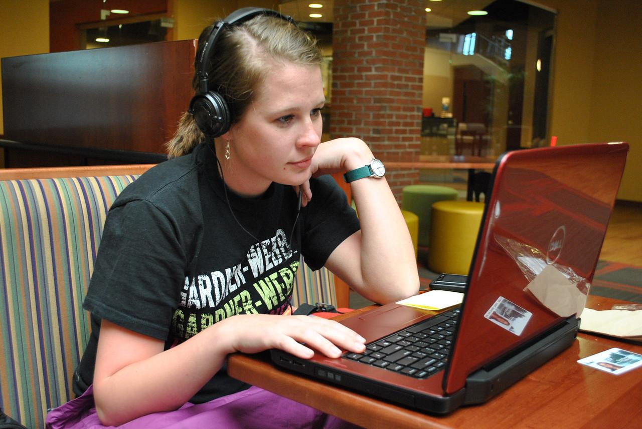 4-9-13: Student Ruth Anna Housand studies in Tucker Student Center.