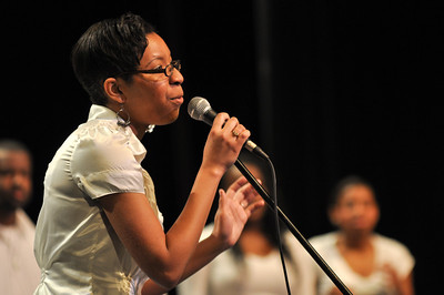The GWU Gospel Choir perform at the Ariane Patterson Memorial Night in Dover Theater on April 5, 2013.