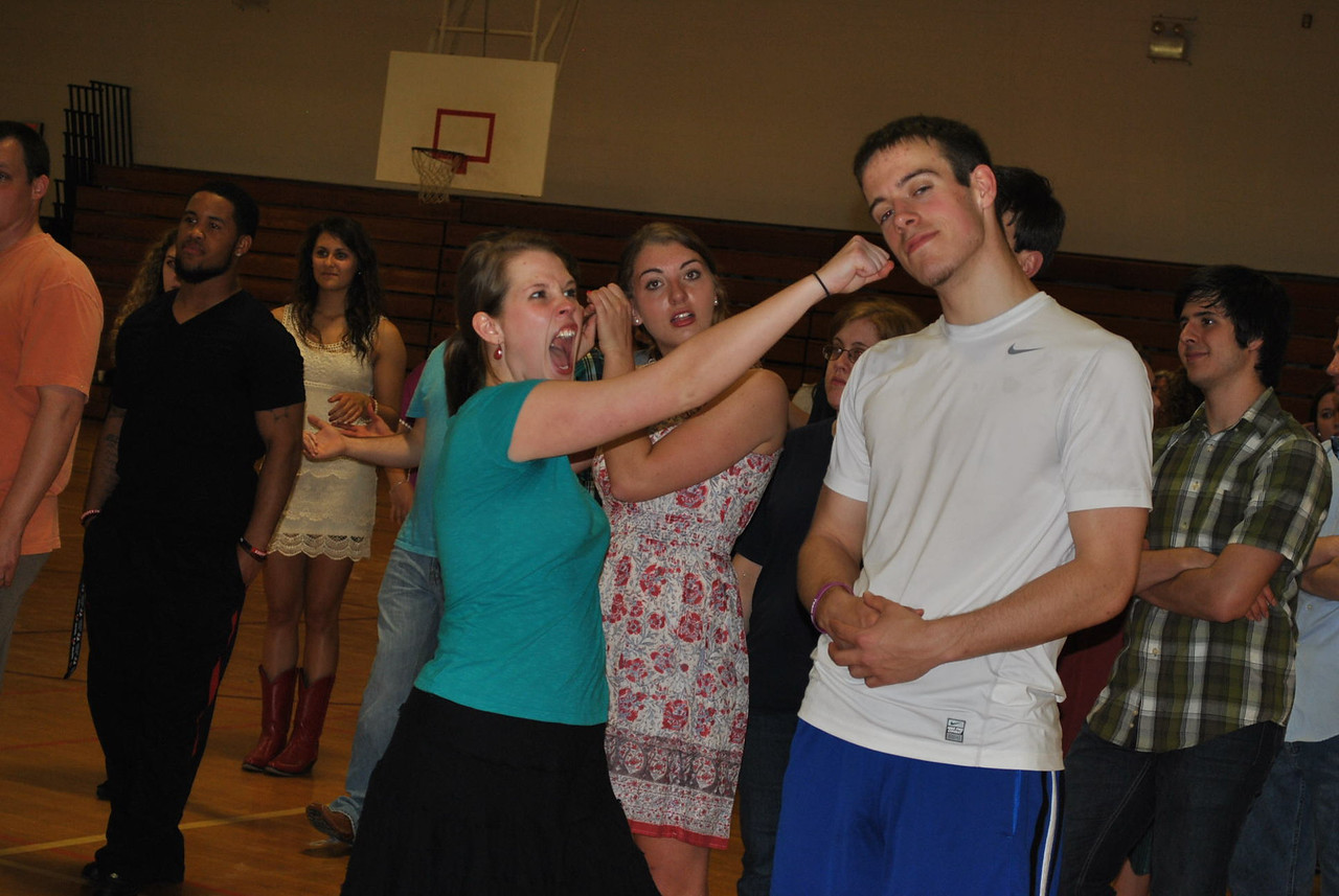 Gardner-Webb students and some community members get a lesson in Contra Dancing on Friday night April 5th 2013.