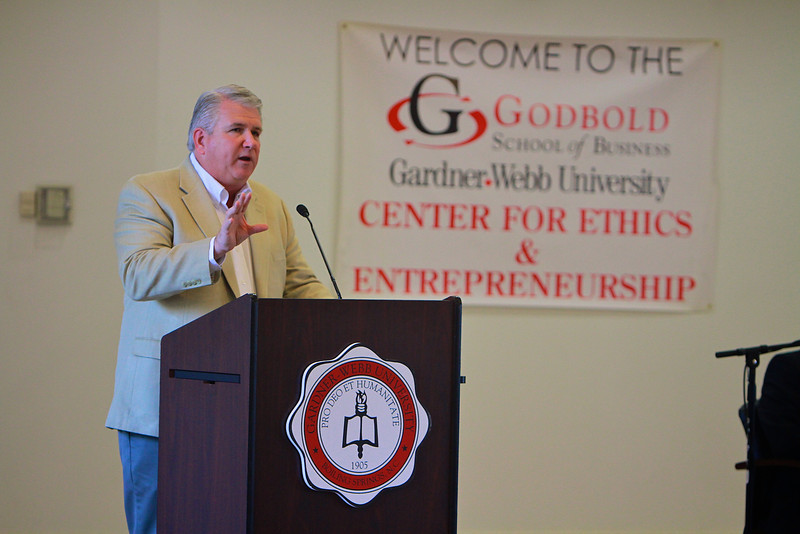 """Godbold's Center for Ethics and Entrepreneurship lecture series, featuring former Lt. Governor Walter Dalton and   Godbold's Center for Ethics and Entrepreneurship lecture series, featuring former Lt. Governor Walter Dalton and business owner Rodney Allison.  Godbold's Center for Ethics and Entrepreneurship lecture series, """"Entrepreneurship in the 21st Century,"""" featuring former Lt. Governor Walter Dalton and business owner Rodney Allison."""