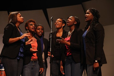 Gardner-Webb University's Gospel Choir performs the 2013 Gospel Explosion in Dover Theatre.