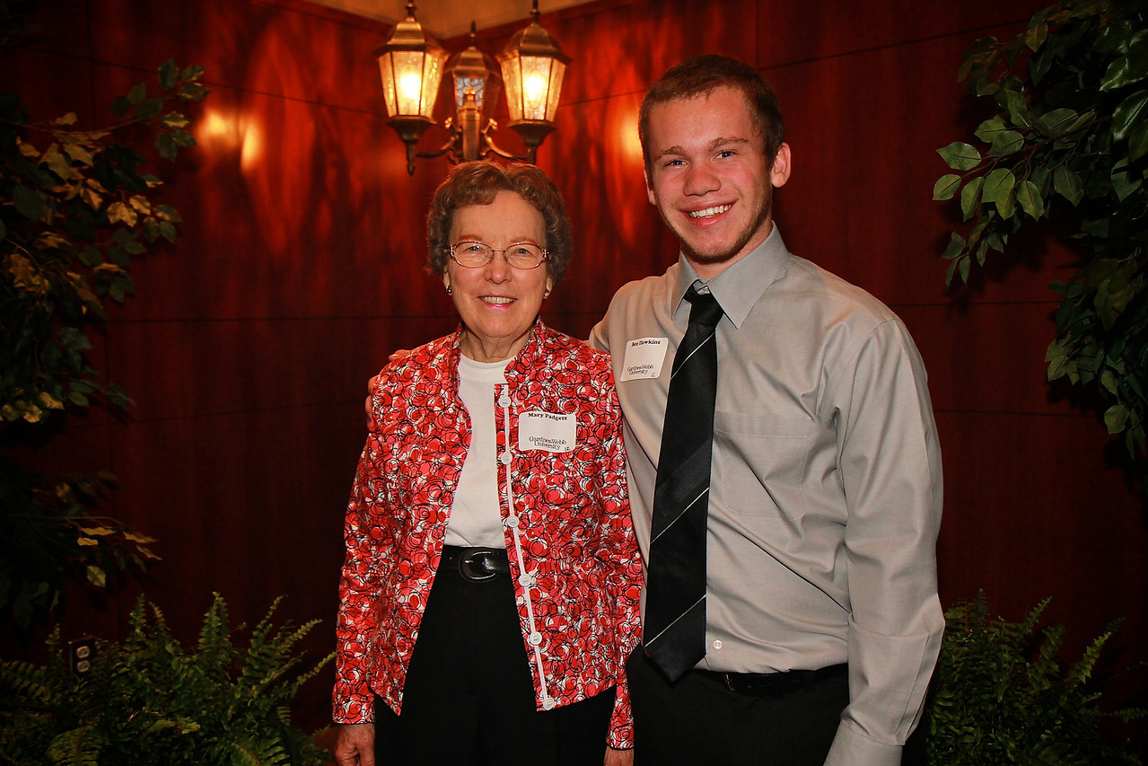 Scholarship Luncheon; Spring 2013. Mary Padgett with Ben Dawkins