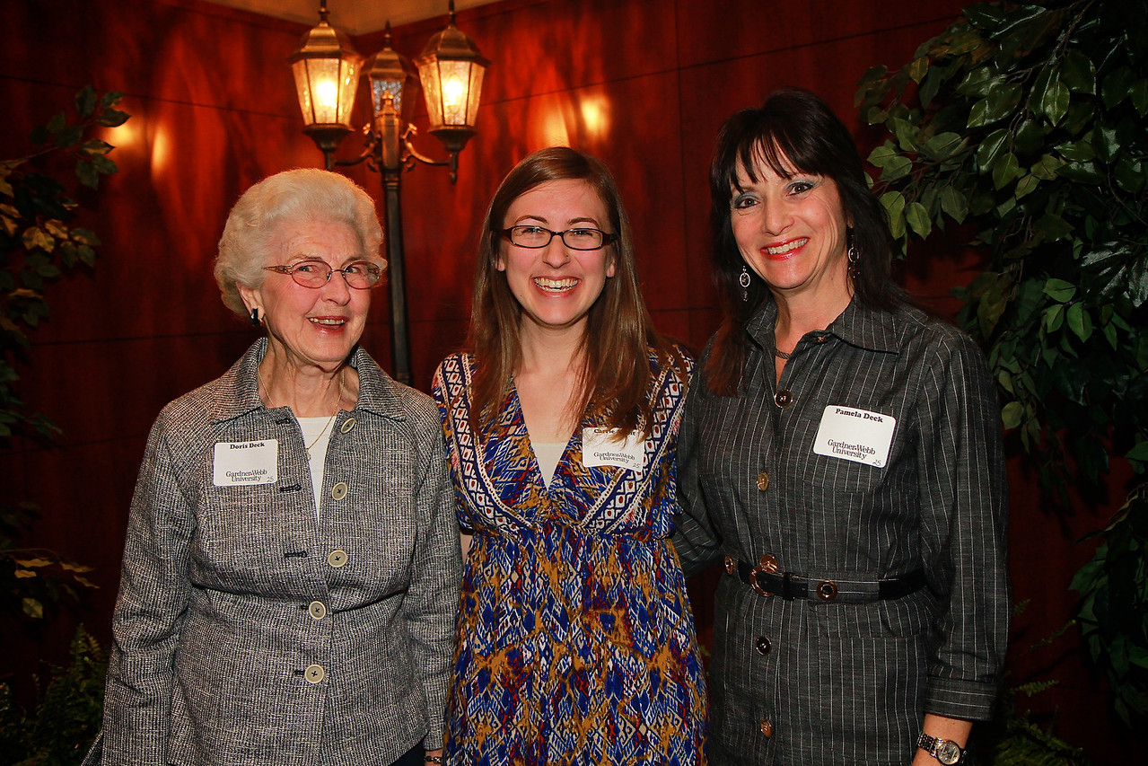 Scholarship Luncheon; Spring 2013. Doris and Pamela Deck with Carrie Arant