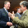 Bill Brady (left) speaks with Lee County Republican Party chairman Greg Witzleb Friday evening at the Lincoln Day dinner in Rock Falls.
