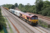 29 August 2013 :: 3 pictures of the most interesting train I saw today 6X44 the engineers train from Bescot to Toton and it is pictured passing North Staffs Junction.  The train is powered by 66184 and the consits includes, DB Schenker DVT 82164, 67003 is Arriva colours, 67014 in Chiltern livery, the sloping point carriers and a Colas crane