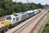 29 August 2013 :: The going away picture of 6X44 the engineers train from Bescot to Toton at North Staffs Junction. Nearest the camera is Chiltern Railways 67014, then 67003 is Arriva colours, DB Schenker DVT 82164 and finally the train locomotive 66184