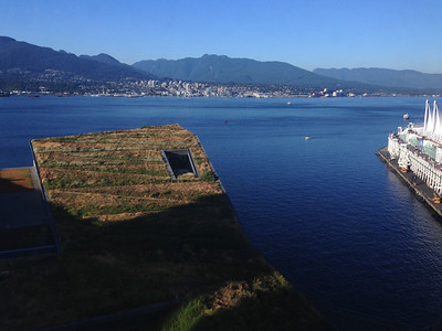 Beautiful view from my room. The grassy thing is the roof of the Vancouver Convention Center.
