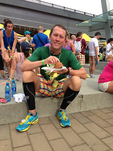 Post race brunch. Doesn't really look like he just ran 13 miles!