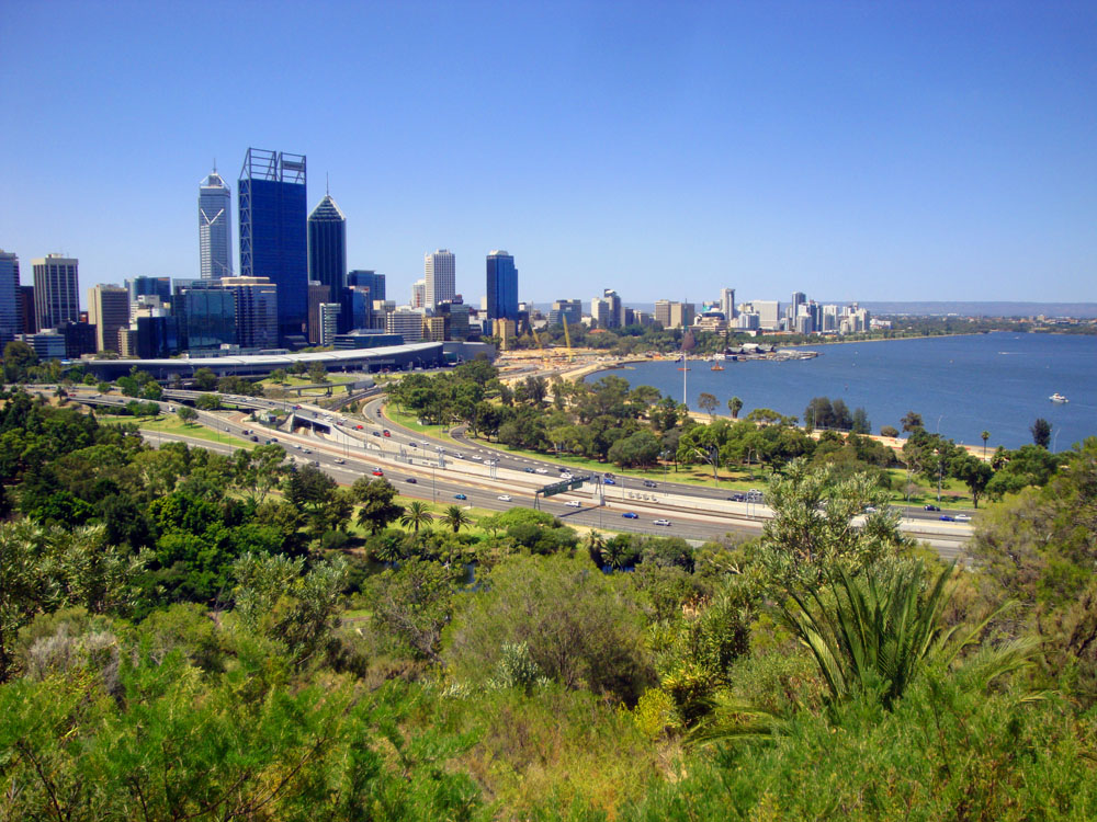 Perth is nestled on the banks of the Swan River (named after the black swans encountered there by the early European explorers). The view from the opposite shore across the water at night is stunning. One of the world's prettiest cities. It's also only 10 km from some of the world's best beaches.