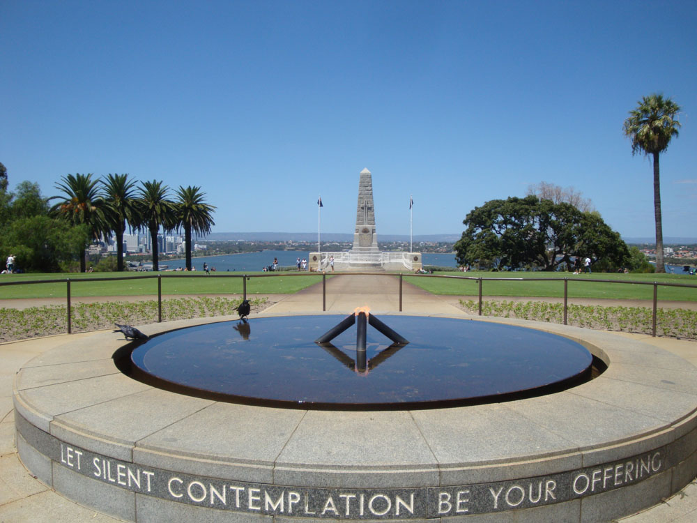 The War Memorial rises above the city, and has stunning views.