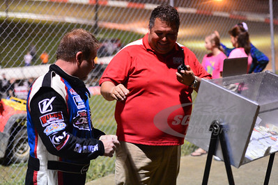 Batesville Motor Speedway Promoter - Mooney Starr and Wendell Wallace during the Fan Draw