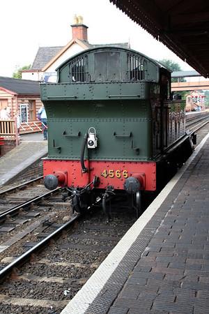 Steam 2-6-2t 4566 passes through Bewdley Station.