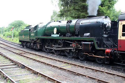 Battle of Britain Class 4-6-2 34053 'Sir Keith Park' awaits departure from Highley.