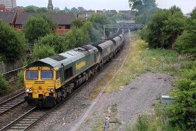 66545 0817/6m62 Barrow Hill-Rugeley passes Rye Croft Jct, Walsall.