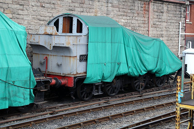 0-6-2T 6634 Stored and sheeted outside Bridgenorth Shed.