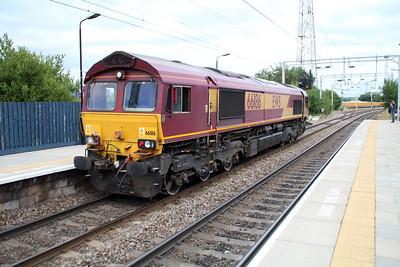 66186 1739 runs Light Engine through Bescot Stadium.