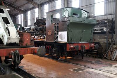 GWR 0-6-0ST 813 inside Bridgenorth Shed.