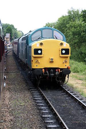 37109 passes 0-6-0T 5643 between Highley and Bridgenorth.