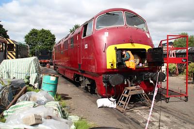 Class 42 D821 'Greyhound'  in Kidderminster yard.