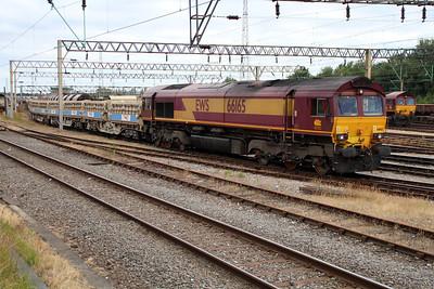 66165 1716/6B09 Bescot-Cricklewood shunts its wagons in Bescot Yard.