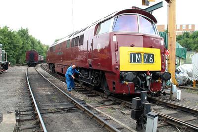 Class 52 Diesel Hydraulic D1062 'Western Courier' on Bridgenorth Shed.