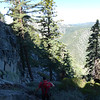 Ryan descending the gully to the base of the Black Bluff