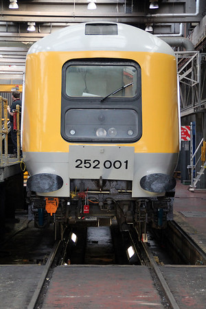 Prototype HST Power Car 252001/41001 under restoration to bring it back to mainline standards, inside Neville Hill.