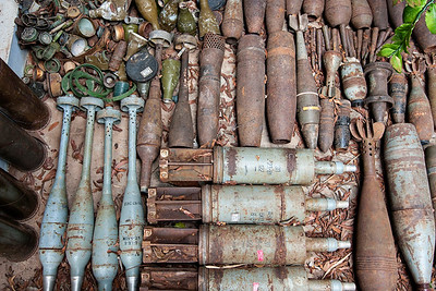 Bombs at the Landmine Museum.