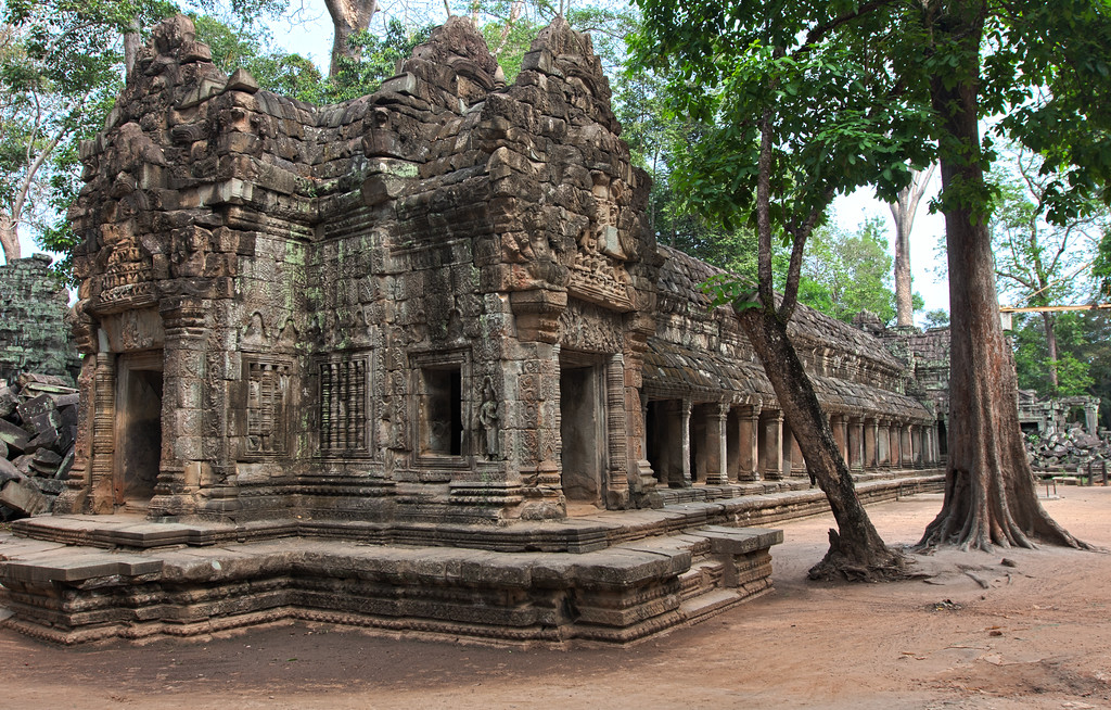 """An HDR of a side of Ta Prohm. Evidently when it was built in the late 12th and early 13th century, it was a Mahayana Buddhist monastery and university. Learn more at <a href=""""http://en.wikipedia.org/wiki/Ta_Prohm""""> wikipedia. </a>"""